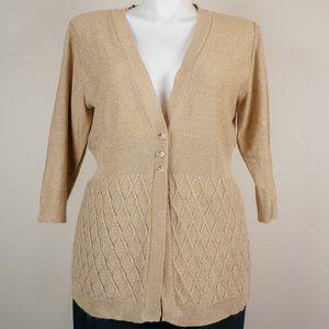 Lane Bryant Knit Cardigan Gold Shimmer 3/4 Sleeve